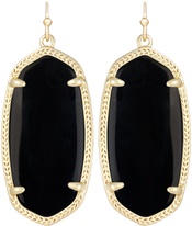 Image of Kendra Scott Elle Gold Black Earrings in Opaque Glass View 1