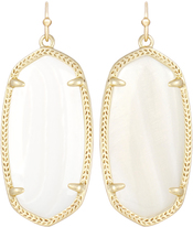 Image of Kendra Scott Elle Gold White Earrings in Mother of Pearl View 1