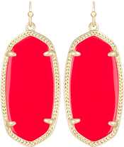 Image of Kendra Scott Elle Gold Earrings in Bright Red Opaque Glass View 1