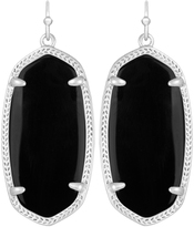 Image of Kendra Scott Elle Rhodium Earrings in Black Opaque Glass View 1