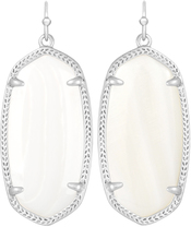 Image of Kendra Scott Elle Rhodium Earrings in White Mother of Pearl View 1