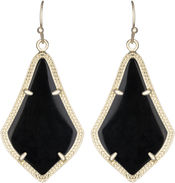 Image of Kendra Scott Alex Gold Earrings in Black Opaque Glass View 1