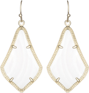 Image of Kendra Scott Alex Gold Earrings in White Mother of Pearl View 1