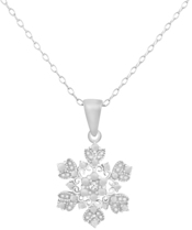 Image of A Silver Breeze Diamond Accent Sterling Silver Snowflake Pendant View 1