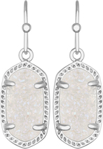 Image of Kendra Scott Lee Rhodium Earrings in Earrings in Irredescent Drusy View 1