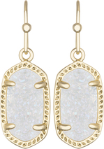 Image of Kendra Scott Lee Gold Earrings in Irridescent Drusy View 1