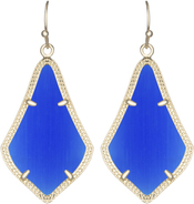 Image of Kendra Scott Alex Gold Earrings in Cobalt Cat's Eye View 1
