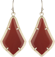 Image of Kendra Scott Alex Gold Earrings in Dark Red Opaque Glass View 1