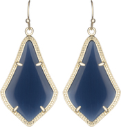 Image of Kendra Scott Alex Gold Earrings in Navy Cat's Eye View 1