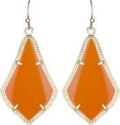 Image of Kendra Scott Alex Gold Earrings in Orange Opaque Glass View 1