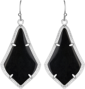 Image of Kendra Scott Alex Rhodium Earrings in Black Opaque Glass View 1