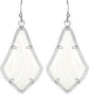 Image of Kendra Scott Alex Rhodium Earrings in White Mother of Pearl View 1