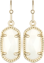 Image of Kendra Scott Lee Gold Earrings in White Mother of Pearl View 1
