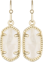Image of Kendra Scott Lee Gold Earrings in Ivory Mother of Pearl View 1