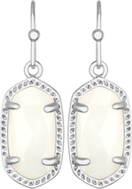Image of Kendra Scott Lee Rhodium Earrings in White Mother of Pearl View 1