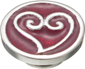 Image of Kameleon Scrolled Heart with Red Enamel JewelPop View 1