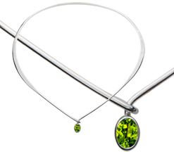 Image of Ed Levin Silver Adore Collar With Peridot View 1