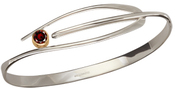 Image of Ed Levin Silver And 14k Gold Wink Bracelet With Garnet View 2