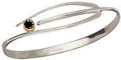 Image of Ed Levin Silver And 14k Gold Wink Bracelet With Faceted Black Onyx View 2