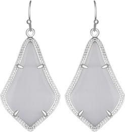Image of Kendra Scott Alex Rhodium Earrings in Slate Cat's Eye View 1
