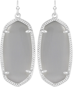 Image of Kendra Scott Elle Rhodium Earrings in Slate Cat's Eye View 1