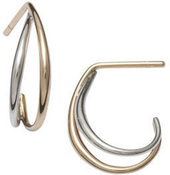 Image of Ed Levin Silver And 14k Gold Little Duos Earrings View 1