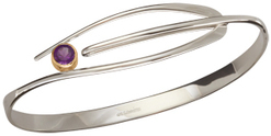 Image of Ed Levin Silver And 14k Gold Wink Bracelet With Amethyst View 2