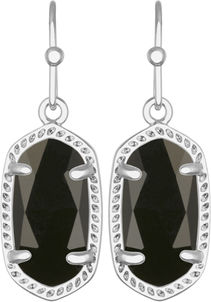 Image of Kendra Scott Lee Rhodium Earrings in Black Opaque Glass View 1