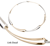 Image of Ed Levin Silver And 14k Gold Ribbon Link Necklace View 1