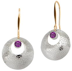 Image of Ed Levin Silver And 14k Gold Girls' Night Earring With Amethyst View 1