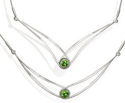 "Image of Ed Levin Silver Gemstone Swing Necklace With Peridot - 18"" View 1"