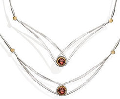 "Image of Ed Levin Two Tone Gemstone Swing Necklace With Garnet - 18"" View 1"