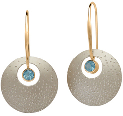 Image of Ed Levin Silver And 14k Gold Champagne Earrings With Blue Topaz View 1