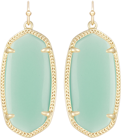 Image of Kendra Scott Elle Gold Earrings in Chalcedony Translucent Glass View 1