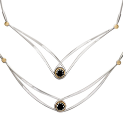 "Image of Ed Levin Two Tone Gemstone Swing Necklace With Faceted Black Onyx - 18"" View 1"