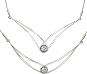 "Image of Ed Levin Silver Gemstone Swing Necklace With Moissanite - 18"" View 1"