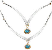 Image of Ed Levin Silver And 14k Gold Kauai Necklace With White Topaz And Blue Topaz View 1