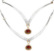 Image of Ed Levin Silver And 14k Gold Kauai Necklace With White Topaz And Garnet View 1
