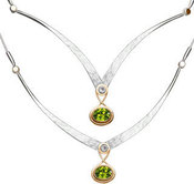 Image of Ed Levin Silver And 14k Gold Kauai Necklace With White Topaz And Peridot View 1