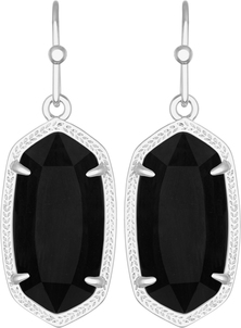 Image of Kendra Scott Dani Rhodium Earrings in Black Opaque Glass View 1
