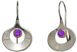 Image of Ed Levin Silver And 14k Gold Dawn Earrings With Amethyst View 1