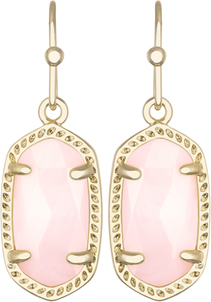 Image of Kendra Scott Lee Gold Earrings in Rose Quartz View 1