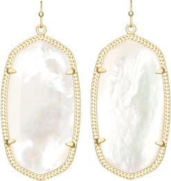Image of Kendra Scott Danielle Gold Earrings in Ivory Mother of Pearl View 1