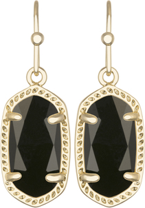 Image of Kendra Scott Lee Gold Earrings in Black Opaque Glass View 1