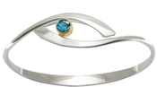Image of Ed Levin Silver And 14k Gold Sensational Swing Bracelet With Blue Topaz View 2