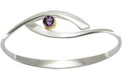 Image of Ed Levin Silver And 14k Gold Sensational Swing Bracelet With Amethyst View 2