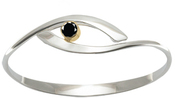 Image of Ed Levin Silver And 14k Gold Sensational Swing Bracelet With Faceted Black Onyx View 2