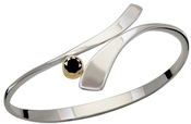 Image of Ed Levin Silver And 14k Gold Allemande Bracelet With Faceted Black Onyx View 2