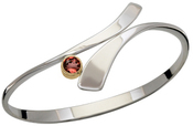 Image of Ed Levin Silver And 14k Gold Allemande Bracelet With Garnet View 2