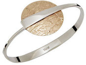 Image of Ed Levin Two Tone Silver And Gold Over Full Moon Flip Bracelet View 2